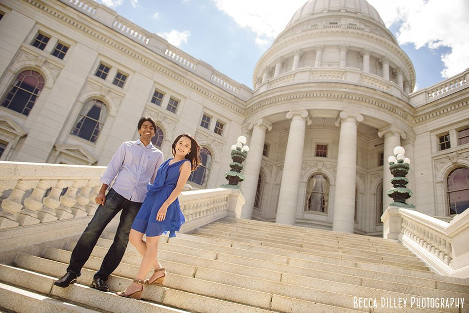 engagement photos on wisconsin capitol