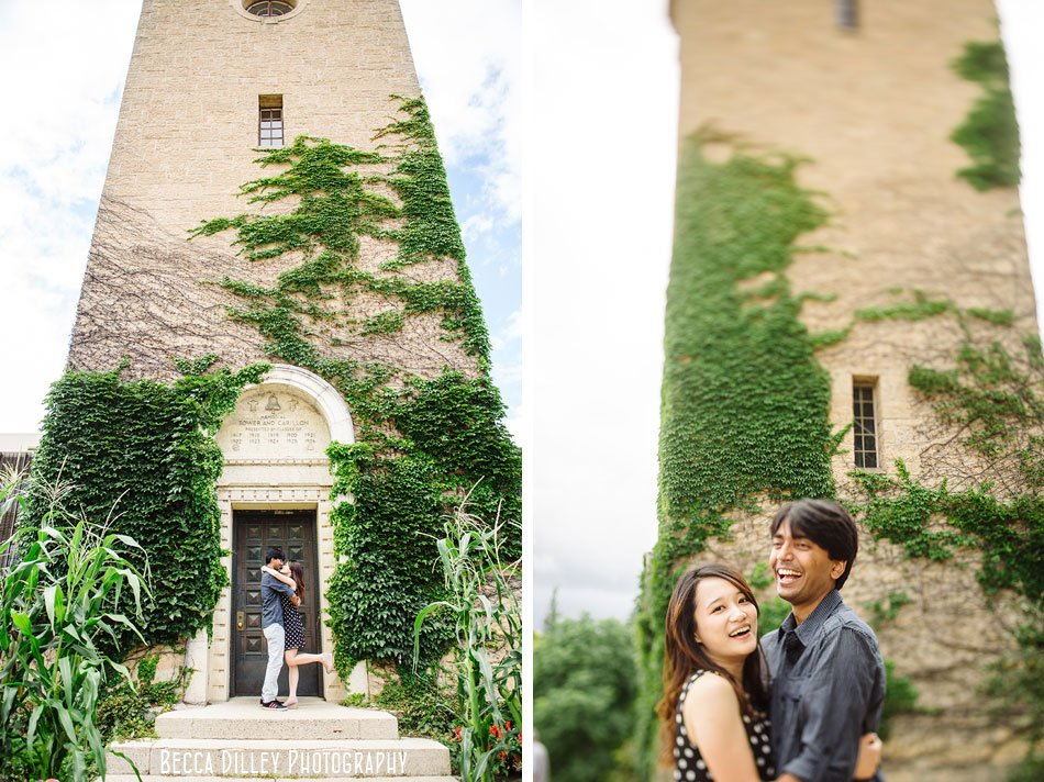 madison engagement photos at bell tower