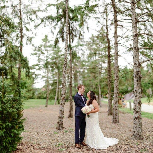 bride and groom at walker art center sculpture garden wedding