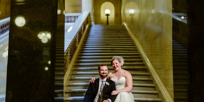 bride and groom inside wi capitol dark panorama