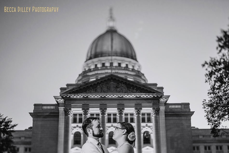 madison wi wedding portraits at night by capitol