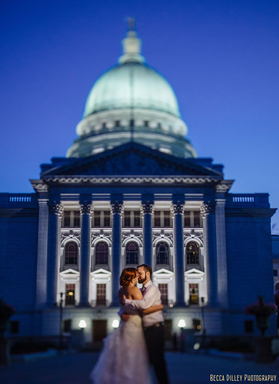 madison wi wedding portraits at night by capitol blue