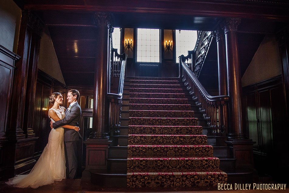 bride and groom at Semple mansion wedding minneapolis mn