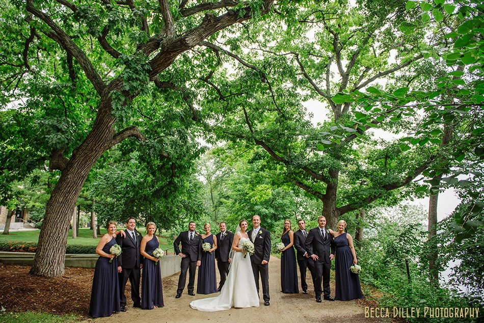 wedding party in navy blue lakeshore path madison wi
