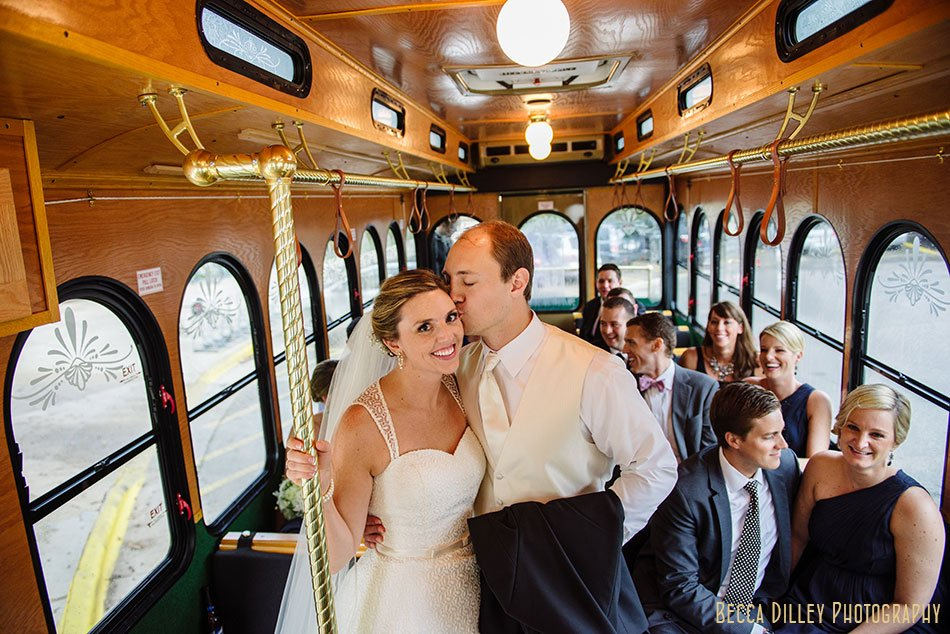 bride and groom on trolley madison wi