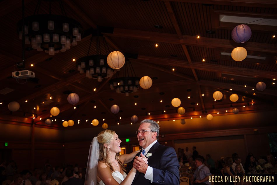 bride and father at silverwood park wedding reception