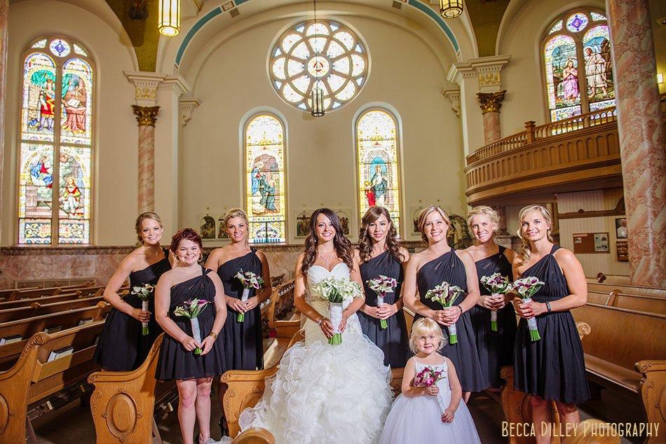 bridesmaids in basilica of St Stanislaus Kostka winona mn