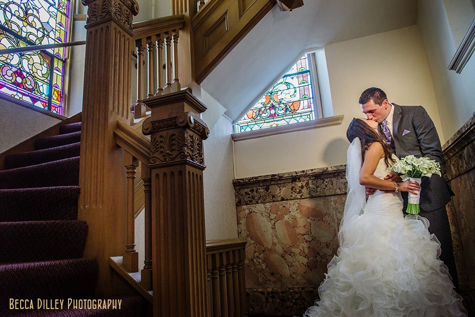 bride and groom in basilica of St Stanislaus Kostka winona mn