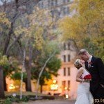 bride and groom in rice park at sunset