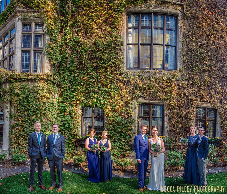 wedding party modern Minneapolis club wedding