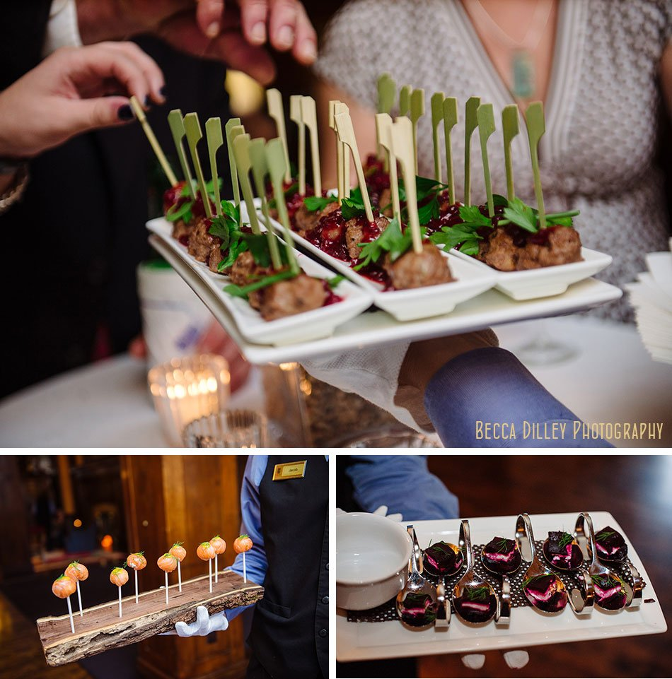 cocktail hour food at Minneapolis club wedding