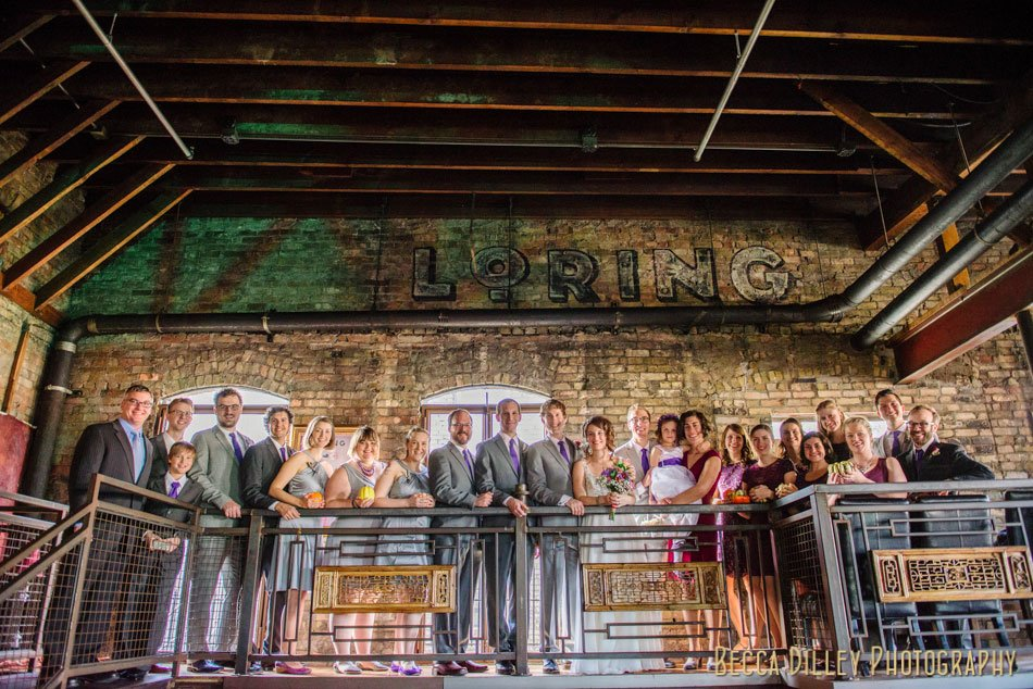 large wedding party of 20 people at loring pasta bar