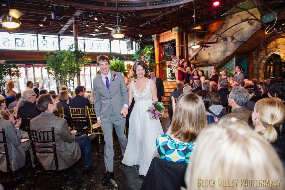 bride and groom exit loring pasta bar wedding