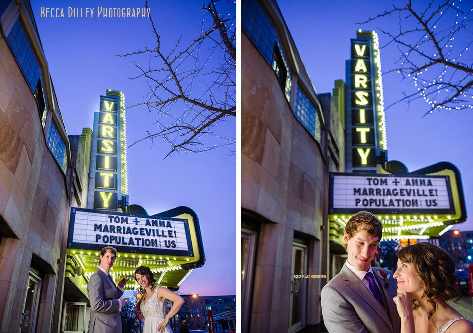 funny marquee at varsity theater wedding