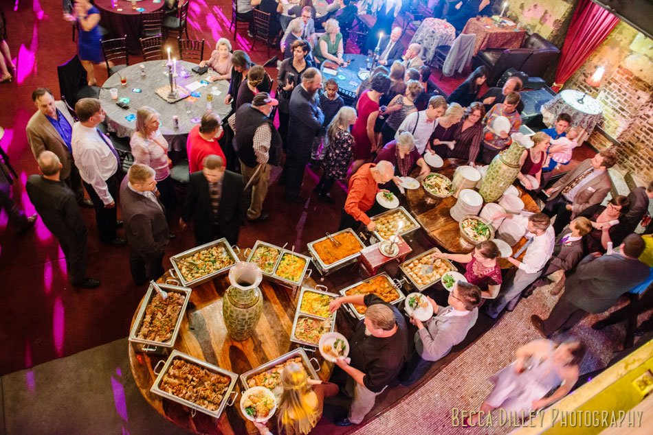 buffet dinning at varsity theater wedding