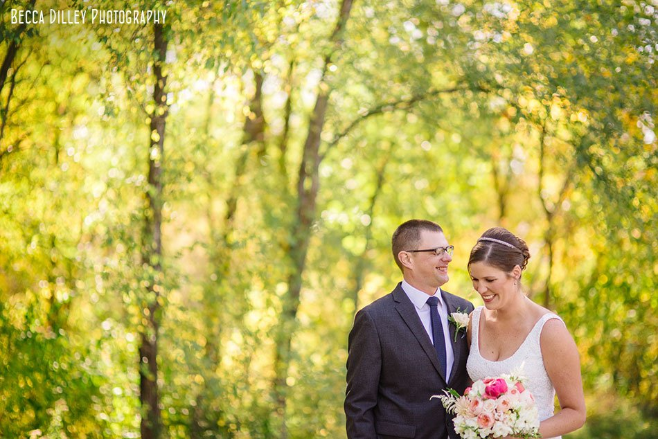 bride and groom in autumn minneapolis