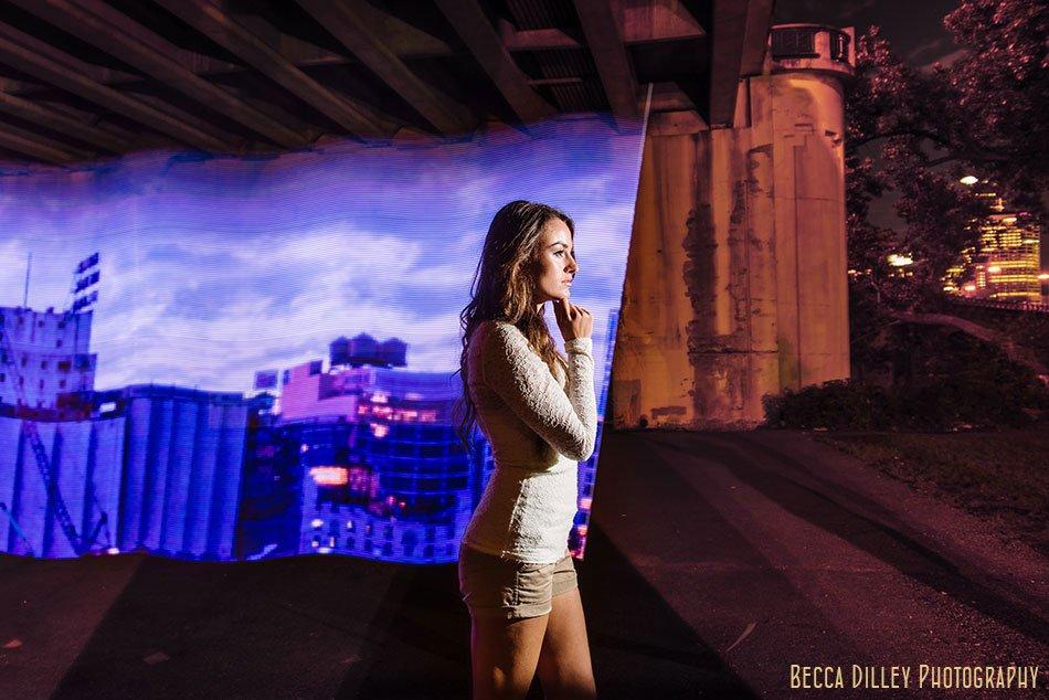 Minneapolis photographer using led light painting at night
