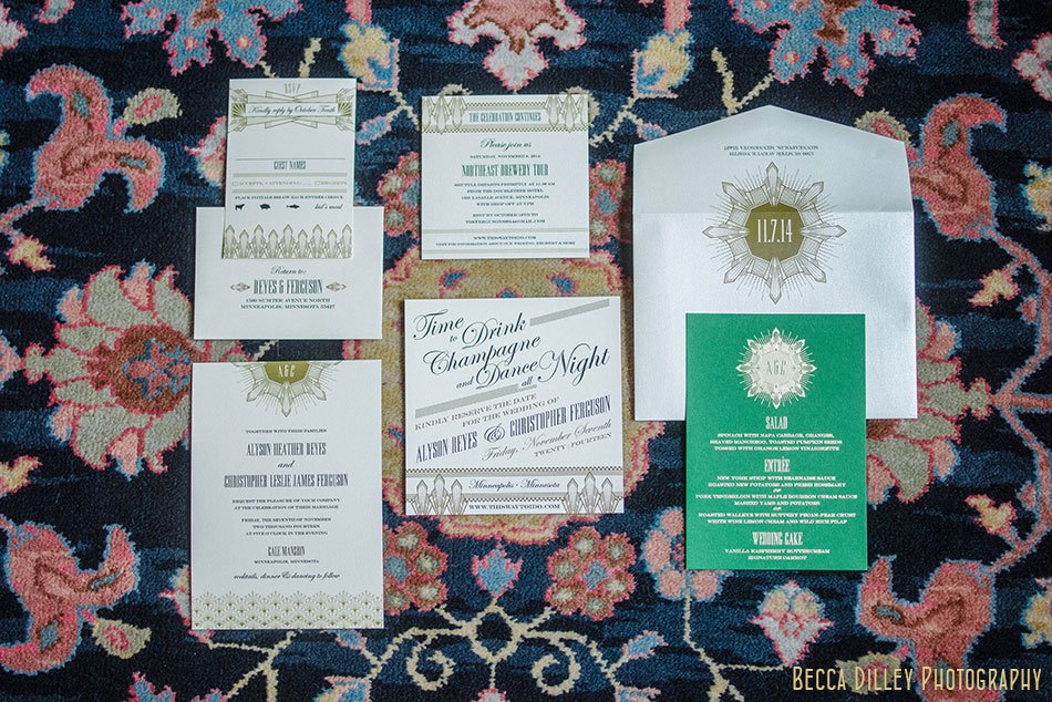 elegant gilded age wedding invitations for minneapolis wedding at gale mansion