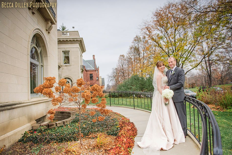 bride and groom outside minneapolis wedding at gale mansion