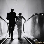 guthrie theater wedding bride and groom on escalator