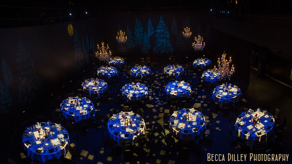 reception in black box guthrie theater wedding ceremony winter minneapolis photographer