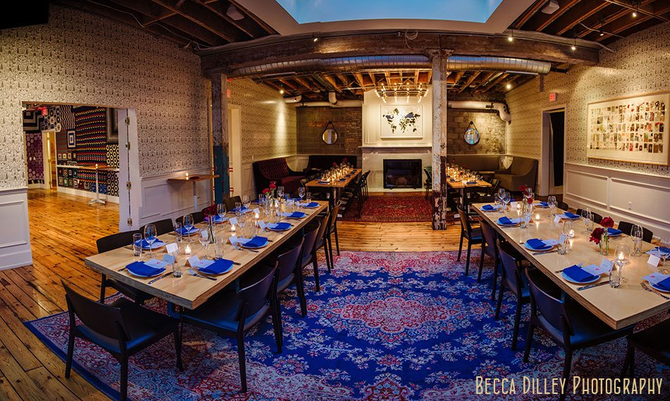 panorama afghan room rehearsal dinner minneapolis wedding photographer at Bachelor Farmer
