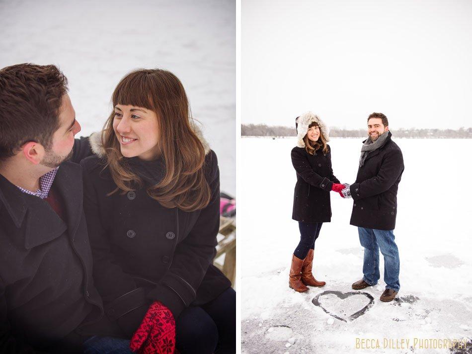 heart in ice winter engagement photos on ice minneapolis