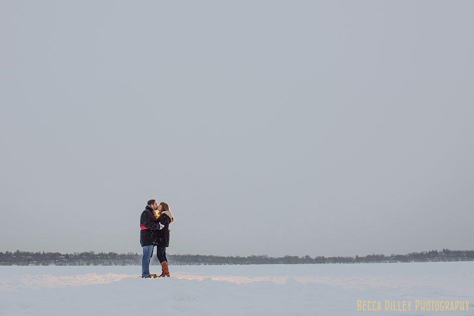 winter engagement photos on ice minneapolis night
