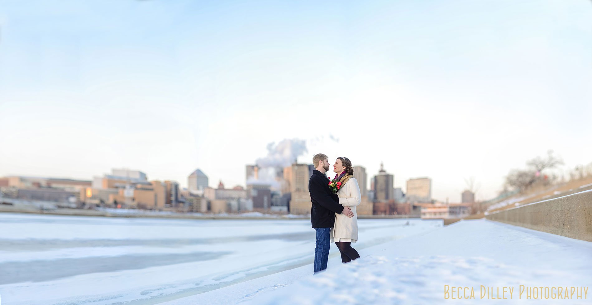 panorama of st paul skyline mn elopement in winter