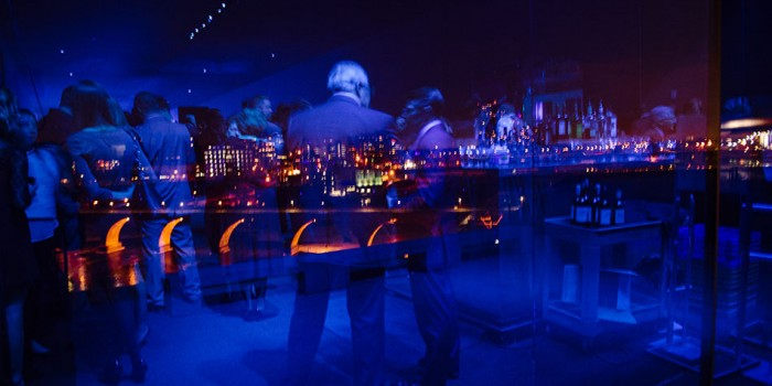 guthrie theater wedding reception city reflected in blue glass minneapolis wedding photographer