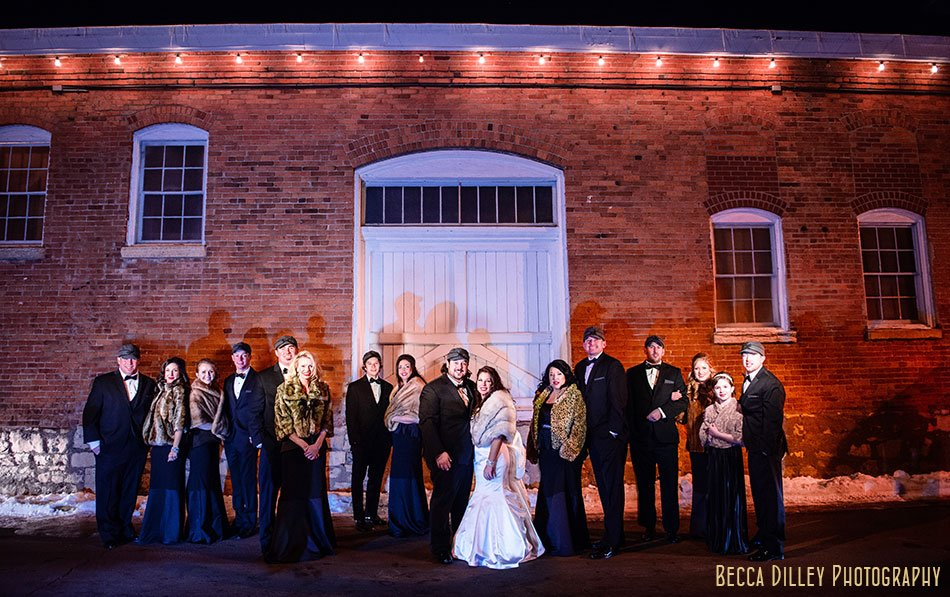 Stillwater winter wedding flash composite of large wedding party