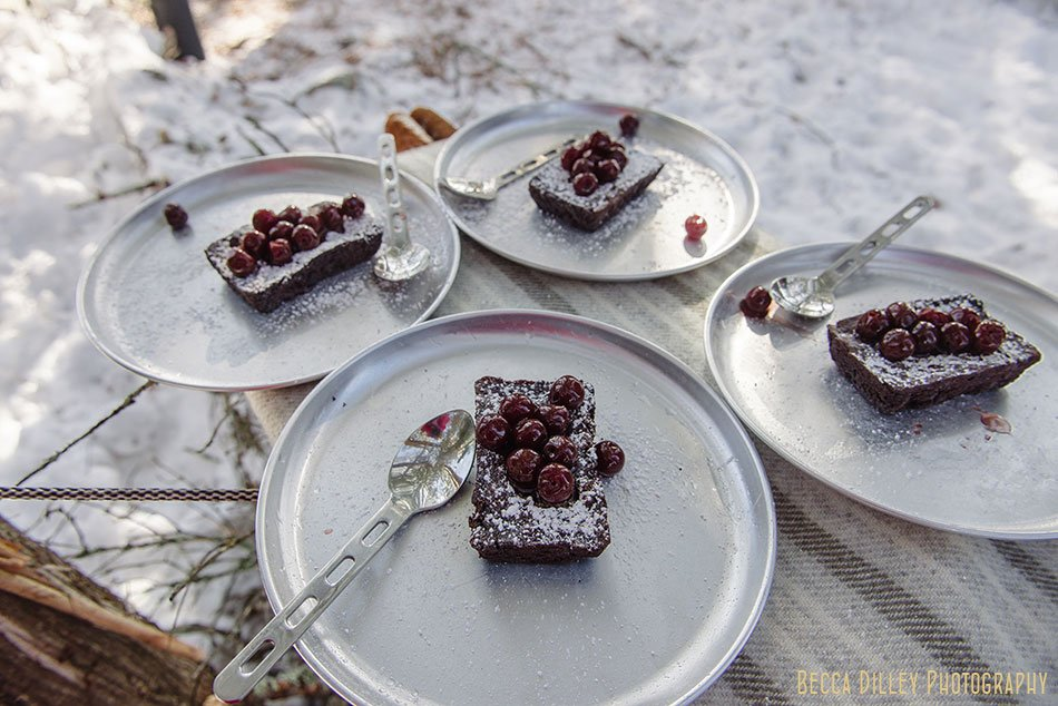 ely winter boundary waters gormet meal brownie with cherries
