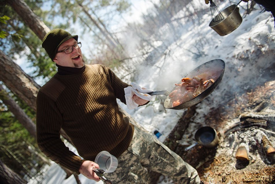ely winter boundary waters gourmet meal jd fratzke sauteeing quail