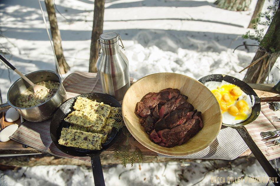 ely winter boundary waters gourmet meal