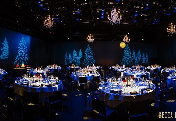 guthrie theater wedding reception in black box theater with dramatic lighting panorama