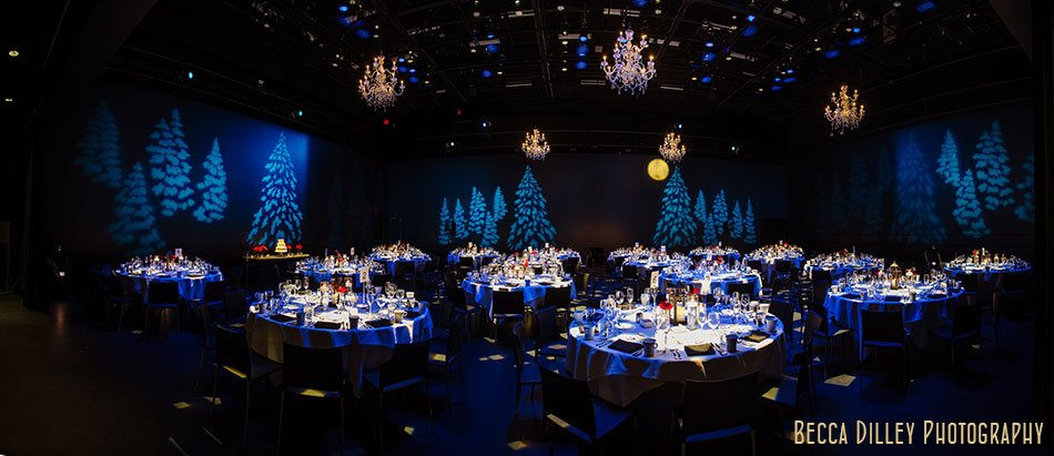 Guthrie Theater Wedding Reception In Black Box With Dramatic Lighting Panorama
