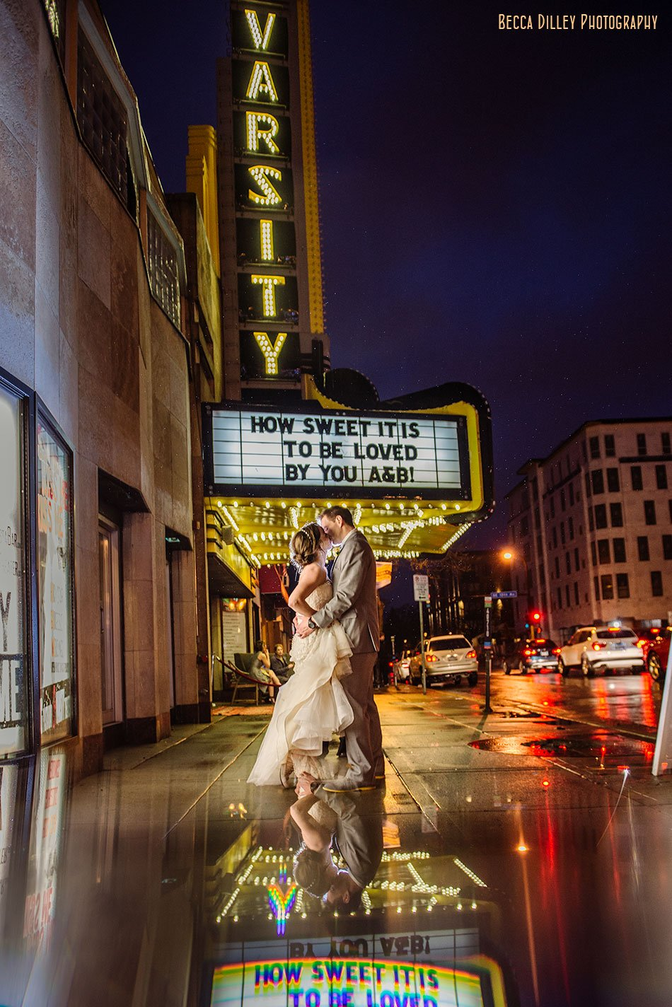 using a prism for minneapolis wedding photography outside varsity theater dinkytown