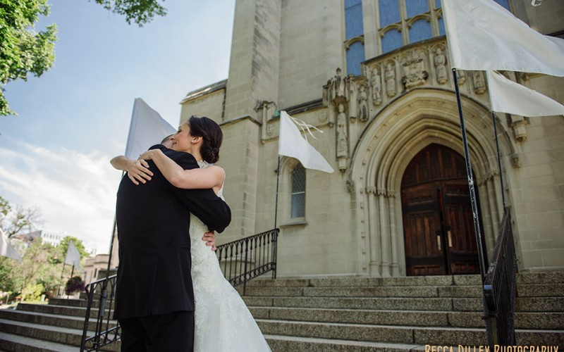 minneapolis wedding first look church steps with flags