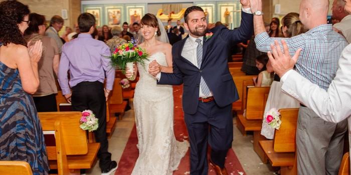st marys greek orthodox church wedding bride and groom walk down aisle
