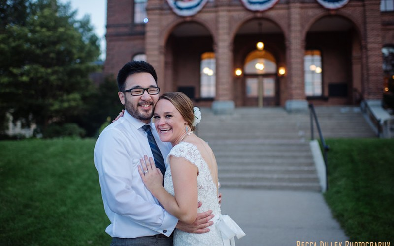 historic stillwater courthouse wedding bride and groom at night