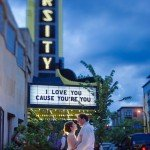 minneapolis varsity theater wedding at night with marquee