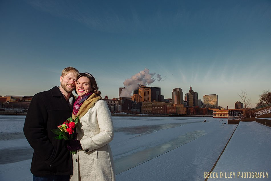 st paul city hall elopement skyline in winter