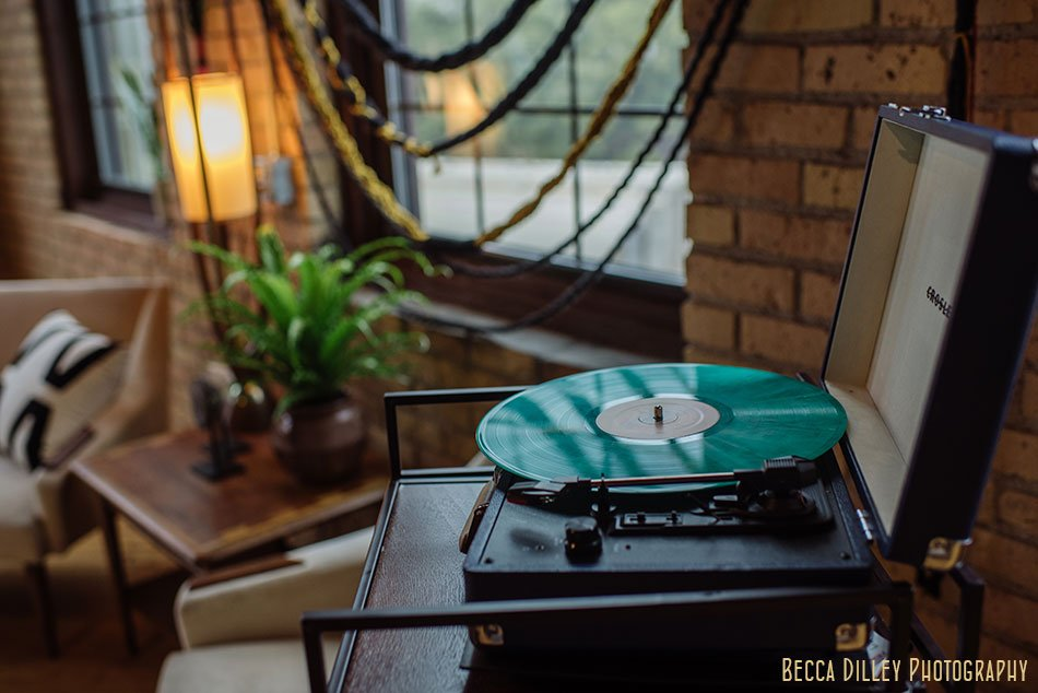 record player for fondue lounge photoshoot