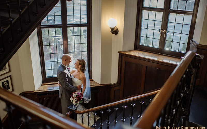 minneapolis club wedding bride and groom on stairs mn november wedding
