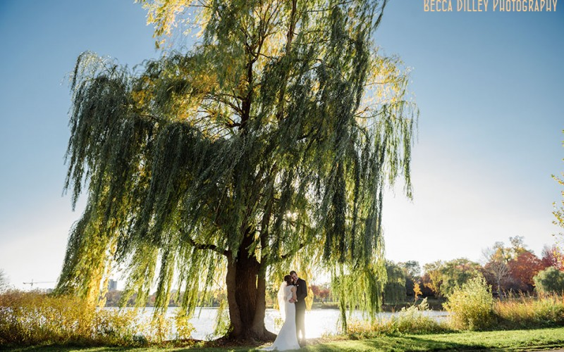 lake of the isles wedding photos with dramatic lighting minneapolis