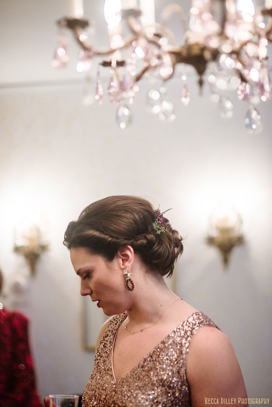 bride in gold dress st paul college club winter wedding mn