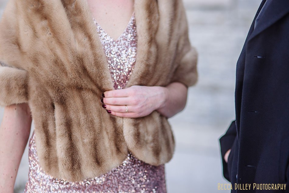 bride in rosegold dress st paul college club winter wedding mn