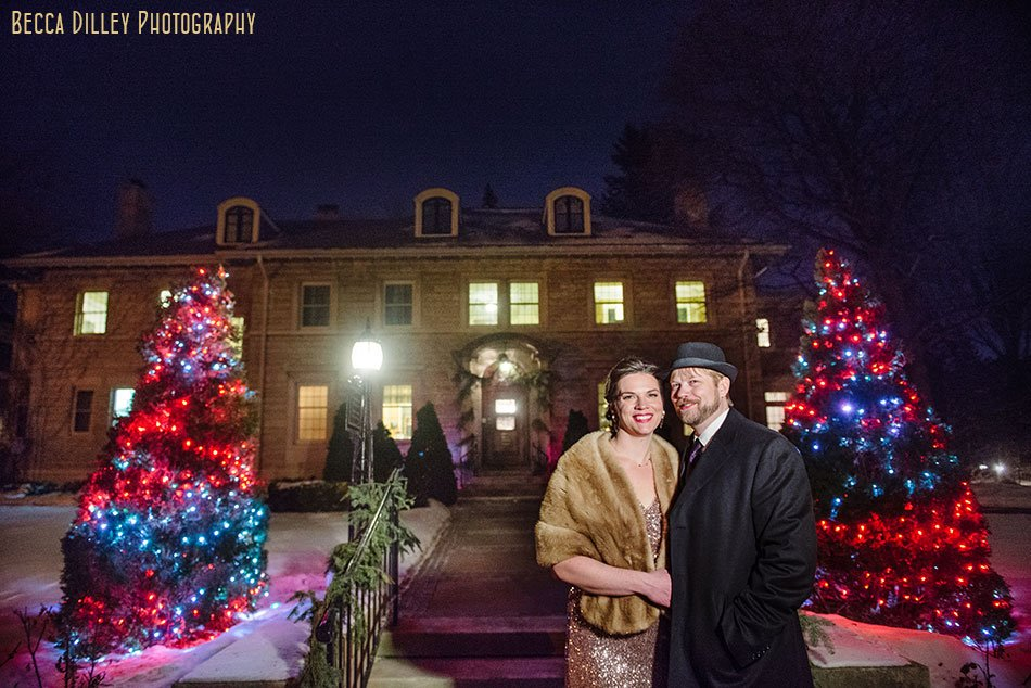 bride and groom outside at night valentines day lights st paul college club winter wedding mn