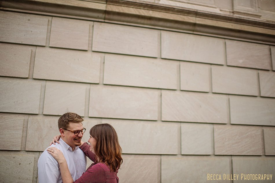 downtown st paul engagement photos at rice park with brick