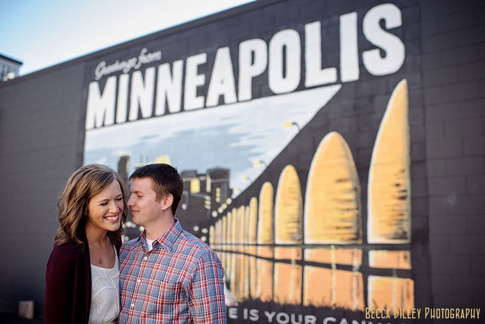 welcome to minneapolis mural for engagement photos